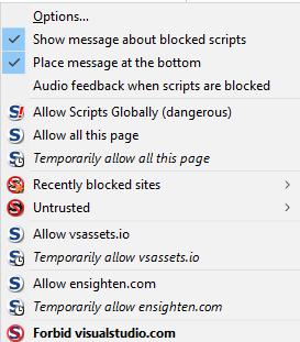 noscript options menu